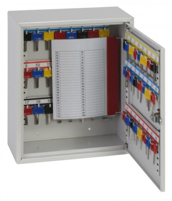 This Phoenixsafe Deep key cabinet KC0300 Series - KC0301K is made using folded steel and is of sturdy construction. Supplied with adjustable key hook bars to accommodate bulky keys using its included colour coded key tabs and number labels. In addition, a removable key control index is included for key control use. It has 50 key hooks.
