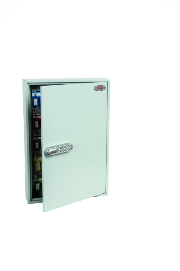 Made from folded steel, the  Phoenixsafe Commercial Key cabinet KC0603S has an internal hinged door and supplied with adjustable key hook bars and colour key tabs for your keys. This cabinet has 100 hooks.