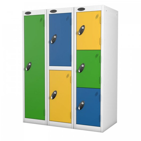 probe    doors low locker in yellow green and blue colours