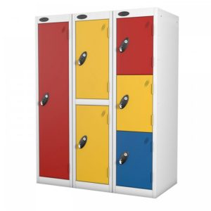 probe    doors low locker in yellow red and blue colours